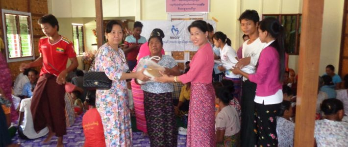 Supporting aids to victims in disaster affected area(Pakhoku Township, Magway Region)